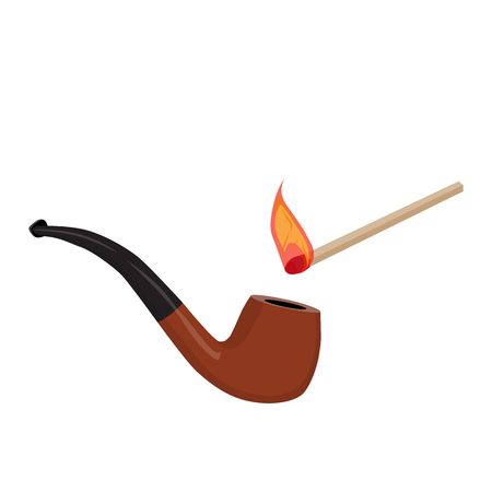 Smoking tobacco pipe and a burning match concept. Vector illustration Illustration