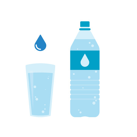 Plastic bottle and glass of water. Water drop sign. Vector illustration Illustration