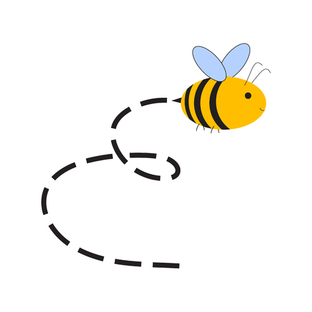 Busy Bee. Abstract flying Bee and track. Raster illustration Stock Illustration - 71374846