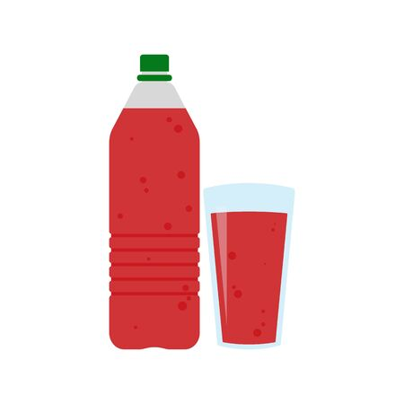 Plastic bottle with red cherry fruit juice and glass of juice or lemonade. Flat web icon. Raster illustration
