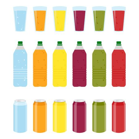 Set of Color plastic bottles of juice or soda with glasses and cans. Package design. Tasty drink, bottled lemonade or juice and cans. Raster illustration Stock Photo