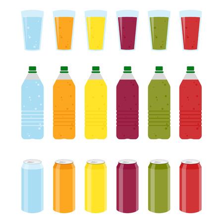 Set of Color plastic bottles of juice or soda with glasses and cans. Package design. Tasty drink, bottled lemonade or juice and cans. Vector illustration