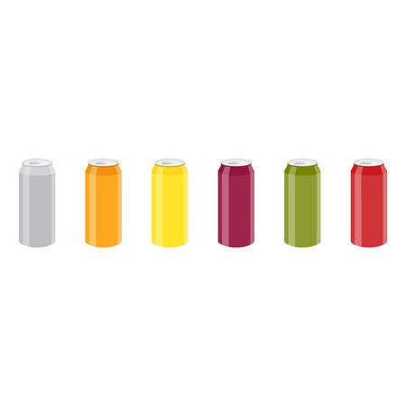 Set of Color Aluminum Cans Template. Package design. Bank of carbonated water. Tasty drink, can lemonade or beer. Vector illustration Illustration