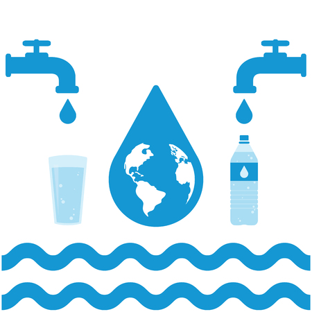 filling: Water infographic set. Water filling, bottle, faucets, glass, drops and vawes. Vector illustration Illustration