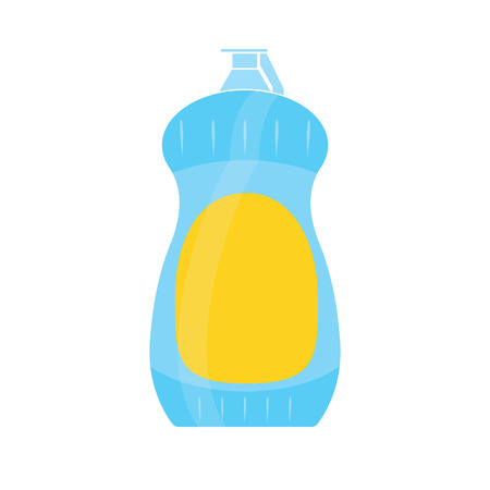 Bottle of cleaning product. Plastic detergent bottle. Bottle of cleaner for dishes. House cleaning tool. Cleaning elements. Clean object, household equipment tool. Vector illustration