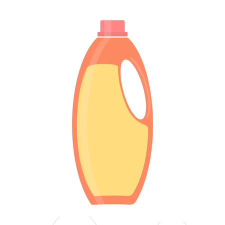 Bottle of cleaning product. Plastic detergent bottle. Bottle of cleaner for dishes. House cleaning tool. Cleaning elements. Clean object, household equipment tool. Raster illustration