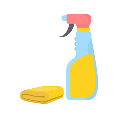wiping: Spray cleaner with yellow sponge or rag. Clean object, household equipment tool. Cleaning service Raster stock illustration, housekeeping cleanness