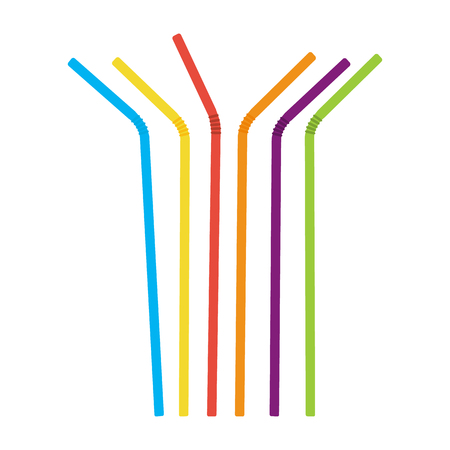 Plastic straws for cocktail set. Orange, red, blue, yellow, green, violet straws. Vector illustration Illustration