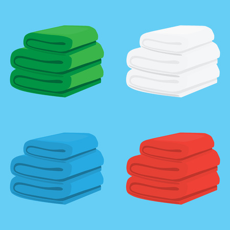 Set colored towels. Beautiful folded plaids. Four different colors in a kit. Vector Illustration
