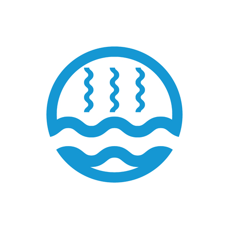 Abstract waves of water and evaporation flat icon. Blue. Vector illustration