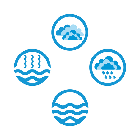 Water cycle infographics. The water cycle vector diagram of precipitation, collection, evaporation and condensation, icons set. Vector illustration