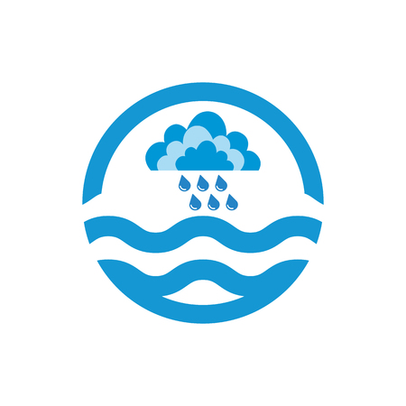 precipitate: Cloud and rain drops. Weather icon of precipitation. Shower or rain cloud with falling drops in water. Raster Illustration