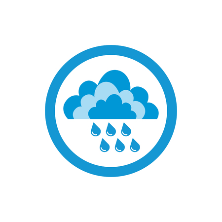 precipitate: Cloud and rain drops. Weather icon of precipitation. Shower or rain cloud with falling drops. Raster Illustration