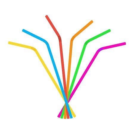 Plastic straws for cocktail set. Orange, red, blue, yellow, green, violet straws. Raster illustration
