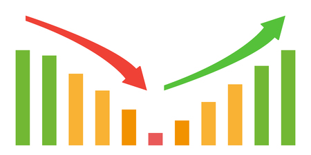 Business down and up chart with negative and positive arrow and green, orange and red bars. Raster illustration Stock Photo
