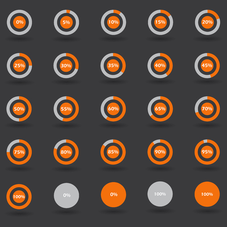 80 85: Business infographic icons elements template pie graph circle percentage orange chart 0 5 10 15 20 25 30 35 40 45 50 55 60 65 70 75 80 85 90 95 100 % set illustration round vector
