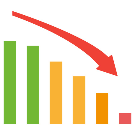 Business down chart with negative arrow and green, orange and red bars. Vector illustration Ilustrace
