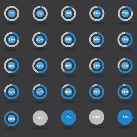 80 85: Business infographic icons elements template pie graph circle percentage blue chart 0 5 10 15 20 25 30 35 40 45 50 55 60 65 70 75 80 85 90 95 100 % set illustration round vector