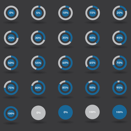 70 75: Business infographic icons elements template pie graph circle percentage blue chart 0 5 10 15 20 25 30 35 40 45 50 55 60 65 70 75 80 85 90 95 100 % set illustration round Raster