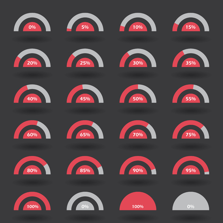 70 75: Business infographic icons elements template pie semicircle graph percentage red chart with step of 5. 0 5 10 15 20 25 30 35 40 45 50 55 60 65 70 75 80 85 90 95 100 % set. Vector illustration. Illustration