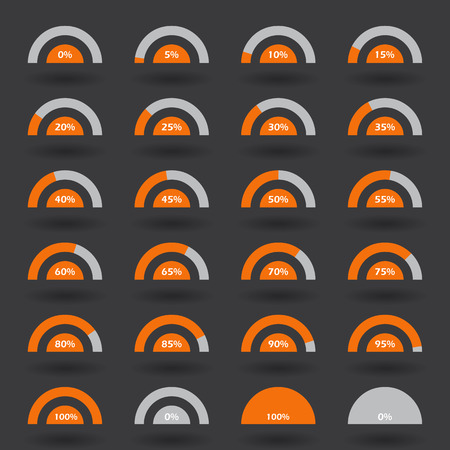 85 90: Business infographic icons elements template pie semicircle graph percentage orange chart with step of 5. 0 5 10 15 20 25 30 35 40 45 50 55 60 65 70 75 80 85 90 95 100  set. Vector illustration. Illustration