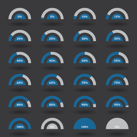 85 90: Business infographic icons elements template pie semicircle graph percentage blue chart with step of 5. 0 5 10 15 20 25 30 35 40 45 50 55 60 65 70 75 80 85 90 95 100 % set. Vector illustration.