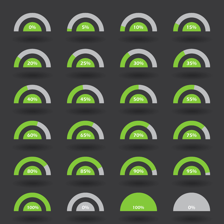85 90: Business infographic icons elements template pie semicircle graph percentage green chart with step of 5. 0 5 10 15 20 25 30 35 40 45 50 55 60 65 70 75 80 85 90 95 100  set. Raster Illustration.