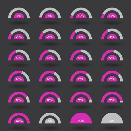 70 75: Business infographic icons elements template pie semicircle graph percentage violet chart with step of 5. 0 5 10 15 20 25 30 35 40 45 50 55 60 65 70 75 80 85 90 95 100 % set. Raster Illustration.
