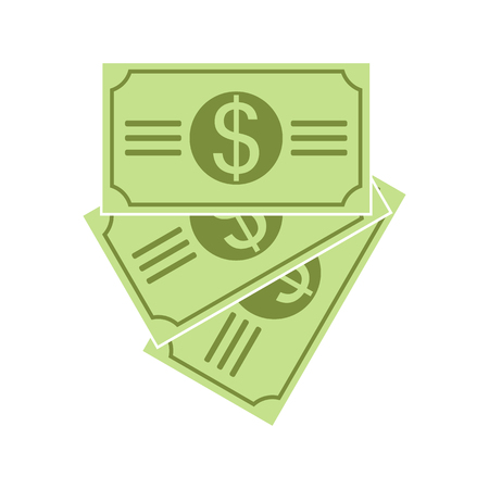 earn money: Stack of dollar currency banknote green. Dollars bill, money banknote. Flat vector illustration of money.
