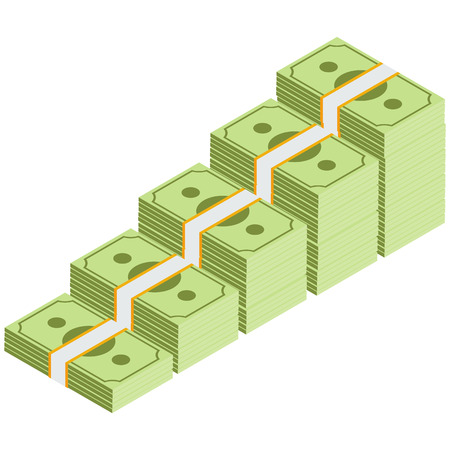 Isometric money banknotes stacks rising up graph. Banknote stairs. Vector illustration