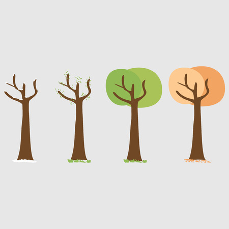 Four seasons - spring, summer, autumn, winter. Art tree. Tree at four seasons. Trees with green, yellow and orange leaves. Tree without leaves at winter. Vector illustration
