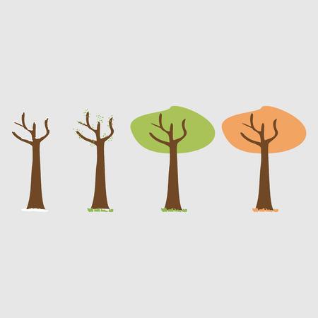 Quattro stagioni - primavera, estate, autunno, inverno. Albero d'arte. Albero a quattro stagioni. Alberi con foglie verdi, gialle e arancioni. Albero senza foglie in inverno. Illustrazione vettoriale