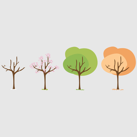 stack of dollar bill: Four seasons - spring, summer, autumn, winter. Art tree. Tree at four seasons. Trees with green, yellow and orange leaves. Tree without leaves at winter. Vector illustration