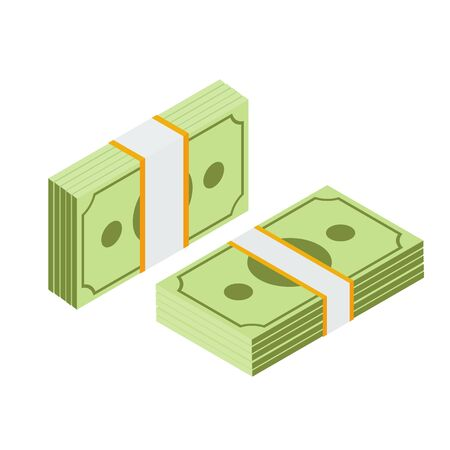 Isometric stacked pile of us dollar cash. Big money concept. American dollars, pack, packet. Packed dollars money. Raster illustration. Stock Photo