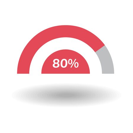 Template business colorful graph. Pie semicircle chart graph 80 % red. Raster illustration Stockfoto