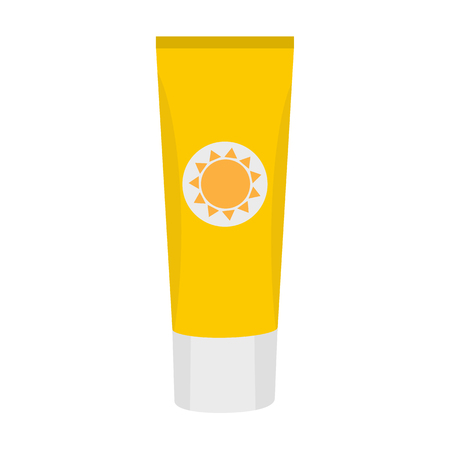 Tube of sunscreen cream with lid. Skin care and protection. Vector illustration