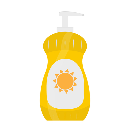 sun block: Bottle of sunscreen cream with lid and dispenser. Skin care and protection. raster illustration