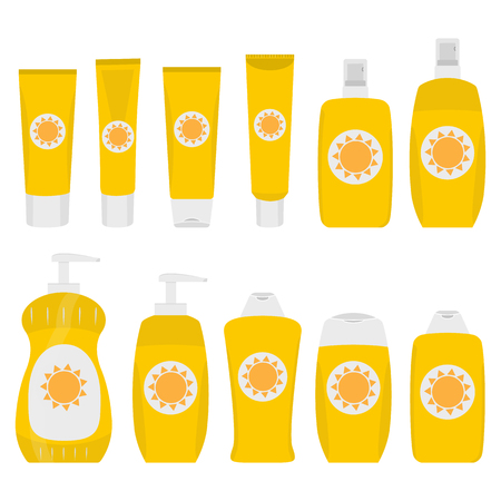 Bottles and tubes of sunscreen cream with lid, spray and dispenser. Skin care and protection. Sunscreen protection sun care cosmetics containers orange set. raster illustration Stock Photo