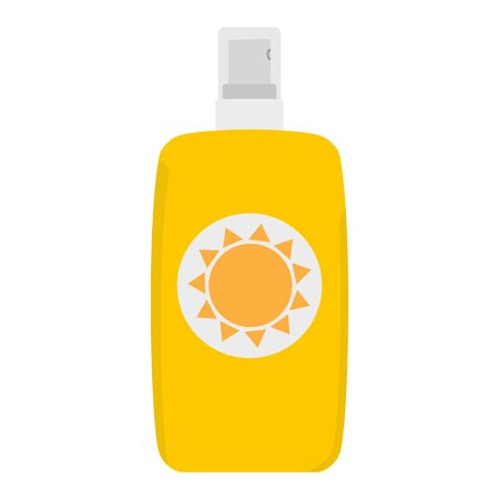 Bottle of sunscreen cream with lid and spray. Skin care and protection. raster illustration
