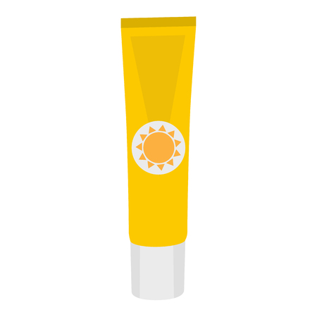 sunblock: Tube of sunscreen cream with lid. Skin care and protection. raster illustration Stock Photo