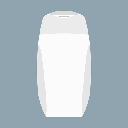 freshener: White Bottle of shampoo or cream with lid. Skin care or hair wash and protection. Vector illustration