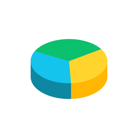 Bulk isometric pie graph. Template realistic three-dimensional pie chart. Business data, colorful elements and clipart for infographics. Vector illustration Stock Illustratie