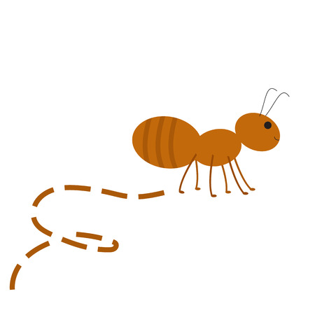 Busy Ant. Abstract Ant and track. Raster illustration