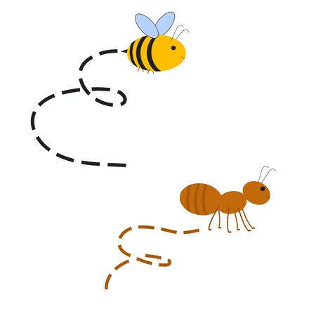 抽象の忙しい蜂とトラックとアリ。昆虫のレースの競争。ラスター図