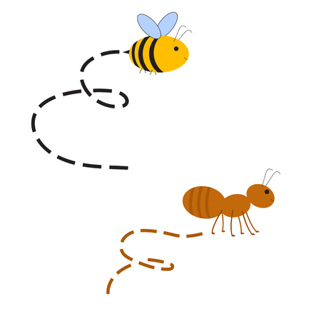 Abstract Busy Bee and Ant with track. Race competition of insects. Raster illustration
