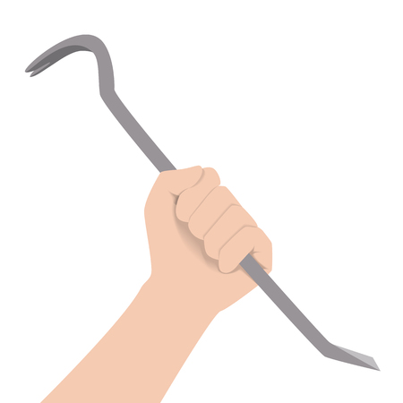 Human hand holding grey steel crowbar. Raster illustration