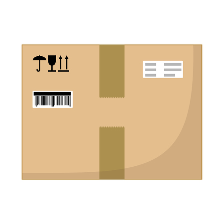 Brown closed with adhesive scotch tape carton delivery packaging box with fragile signs isolated on white background. Vector illustration. Иллюстрация