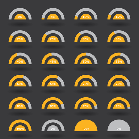70 75: Business infographic icons elements template pie semicircle graph percentage orange chart with step of 5. 0 5 10 15 20 25 30 35 40 45 50 55 60 65 70 75 80 85 90 95 100 % set. Vector illustration. Illustration