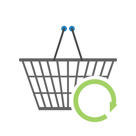 plated: Chrome plated wire metal double handles square empty shopping basket with circle arrow sign of refresh. Concept of sign in shopping app. Vector illustration