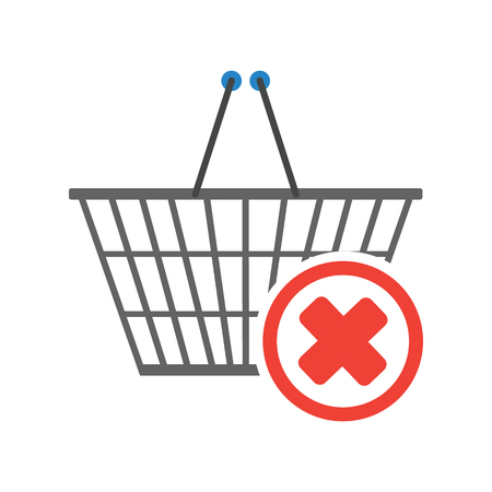 Chrome plated wire metal square empty shopping basket with negative check mark sign in circle in the corner. Sign of removal or negative choice. Concept of sign in shopping app. Vector illustration